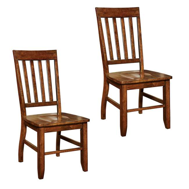 CM-3437SC-2PK Furniture of America Castile Transitional Dining Chair 2 Set, Dark Oak (2 Pack) 1