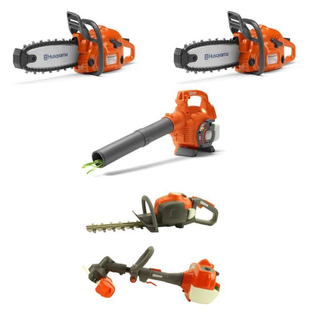 HV-TOY-522771104 + HV-TOY-589746401 + HV-TOY-58572 Husqvarna Toy Chainsaw (2-Pack), Leaf Blower, Hedge Trimmer and Lawn Trimmer