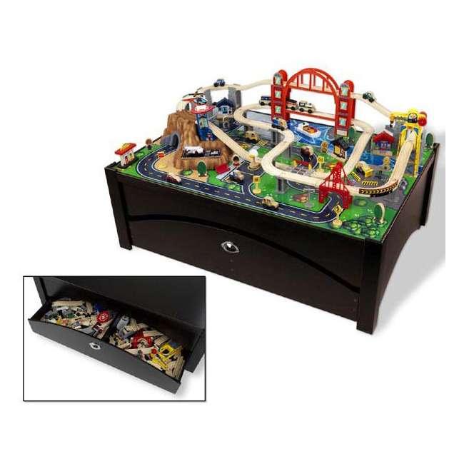 KidKraft Metropolis 100 Piece Wooden Train Table Set