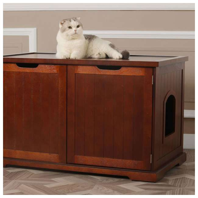 MPS012 Merry Products Cat Washroom Bench, Walnut 1