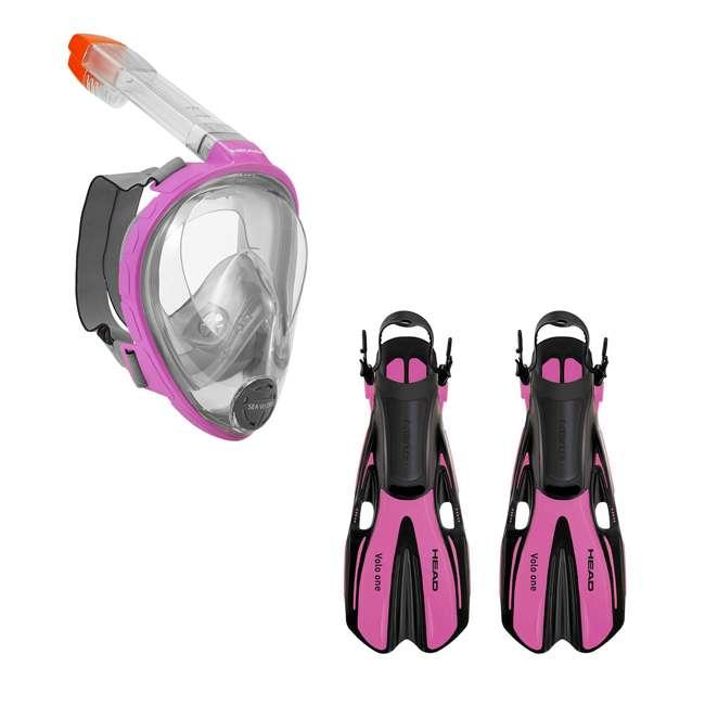 496325-PKGRXS + 480203-SFPKSM Head Sea VU Dry Full-Face Adult XS/S Snorkel Swim Mask & S/M Fins