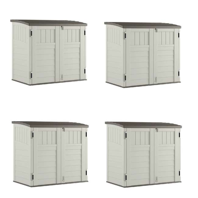 4 x BMS2500 Suncast Horizontal Storage Shed Stow Away, Ivory (4 Pack)