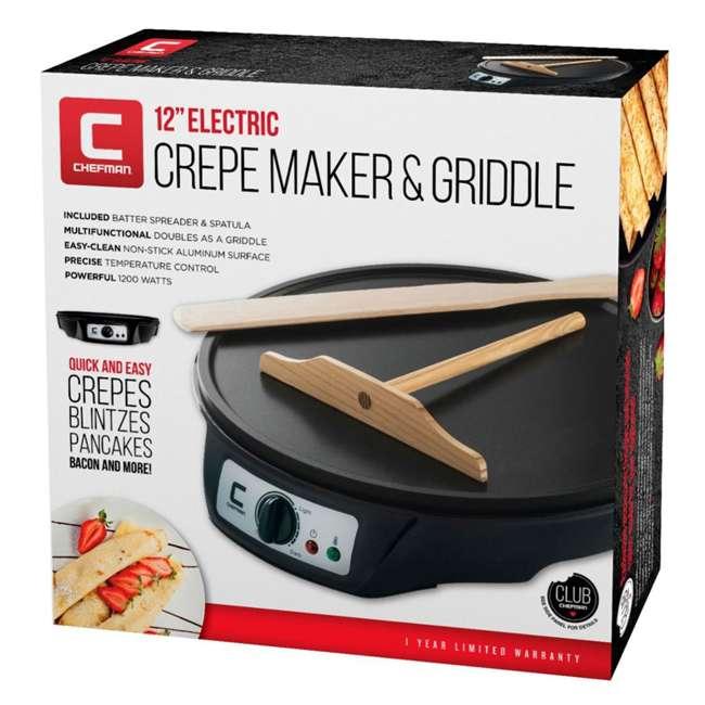 RJ33-C Chefman Electric Non Stick Countertop Crepe/ Brunch Maker & Round Griddle, Black 3