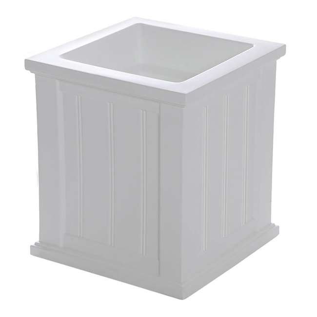 MO-4837-W Mayne Cape Cod Large 16 In Square Plastic Outdoor Flower Pot Planter Box, White 1