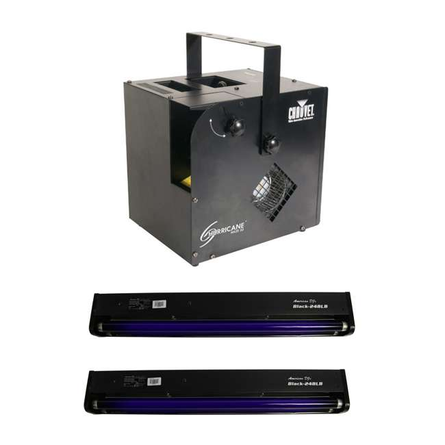 HURRICANE-HAZE2D + 2 x BLACK-24BLB Chauvet DJ Hurricane Haze 2D Smoke/Fog Machine w/ Remote & Black Light (2 Pack)