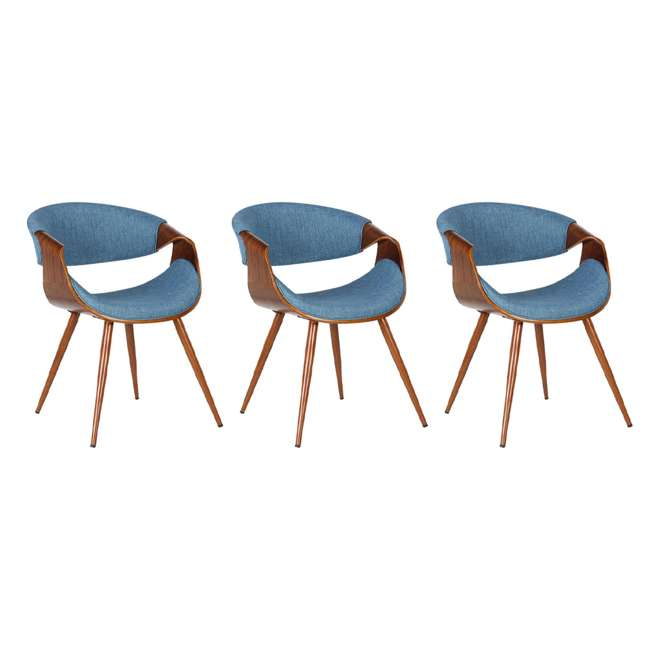 3 x LCBUCHWABL Armen Living Blue Fabric and Walnut Wood Finish Mid Century Dining Side Chair (3 Pack)