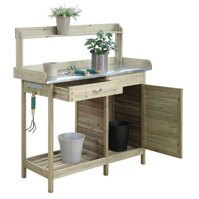 V10-460 Convenience Concepts V10-460 Deluxe Wooden Potting Bench with Cabinet, Brown 1
