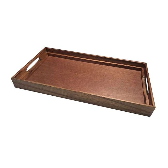 KALMAR-441 Kalmar Home 441 3 in 1 Acacia Wood Tray, Trivet, and Bread Crumb Catcher, Brown 3