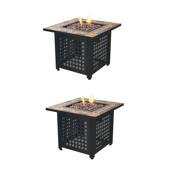 GAD1428SP Endless Summer Propane Powered Square Outdoor Patio Firetable w/ Rocks (2 Pack)