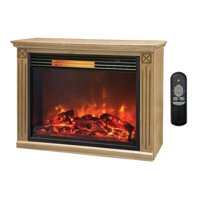 LS-ZCFP1062US Lifesmart Light Oak Infrared Fireplace w/ Remote (2 Pack) 1
