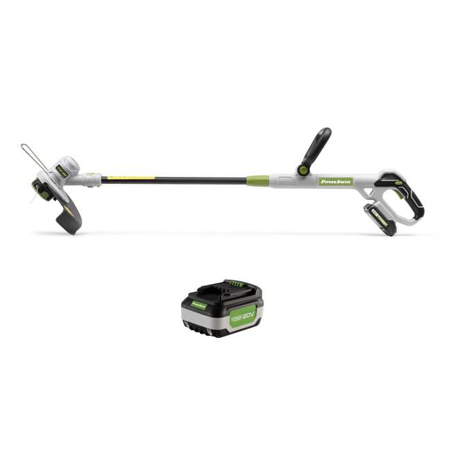 PGT120 + PLB12040 PowerSmith 20V Max Cordless Battery Powered Lawn String Trimmer w/ Extra Battery