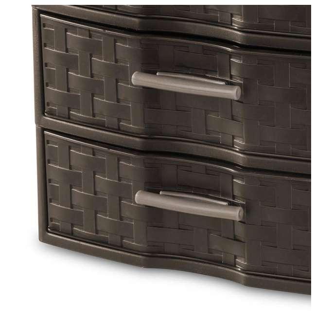 8 x 23436P04-U-A Sterilite Medium Weave Craft 3 Drawer Storage Organizer, Brown(Open Box)(8 Pack) 3