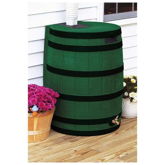 RW50-DR-GRN Good Ideas Rain Wizard Rain Collection Rain Barrel 50-Gallon Dark Ribs, Green 1