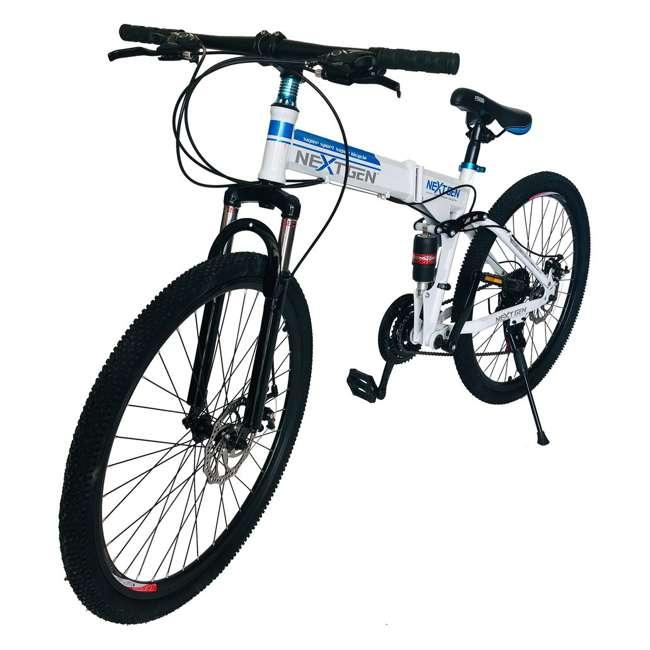 "MTB014-WH NextGen 26"" 21 Speed Shimano Foldable Hardtail Downhill Mountain Bike, White 1"