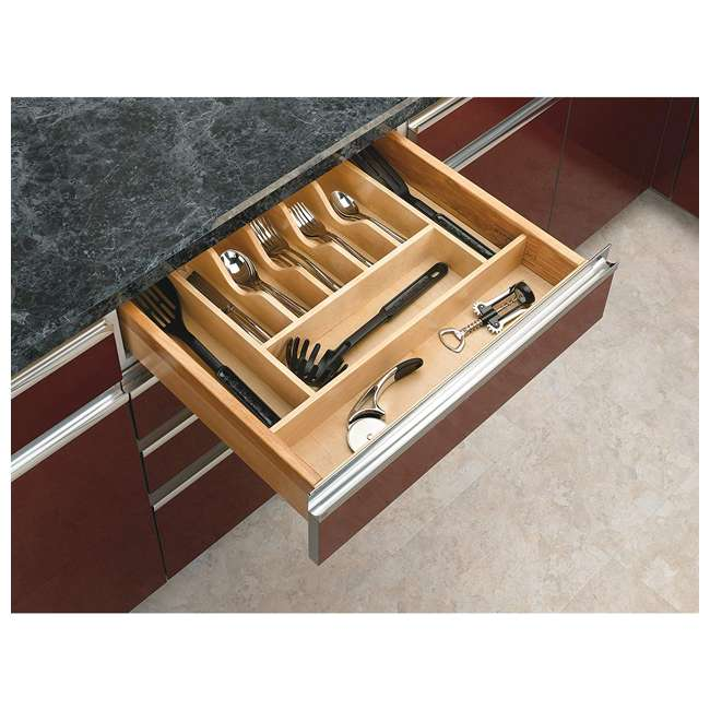 4WCT-3SH Rev-A-Shelf 4WCT-3SH Wooden Cutlery Tray Insert Organizer for Cabinet Drawers 1