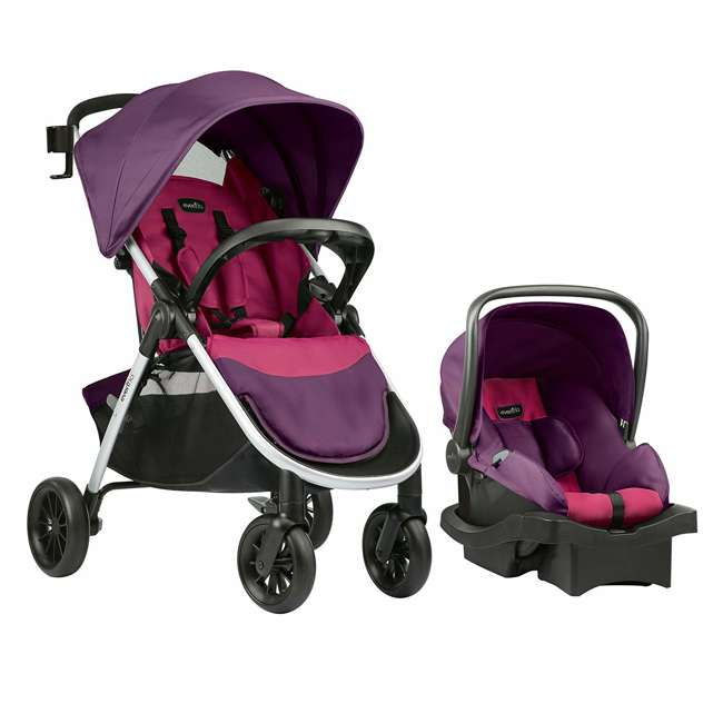 56311987 Evenflo Folio Tri Fold All in 1 Reliable Durable Baby Travel System, Blackberry 1