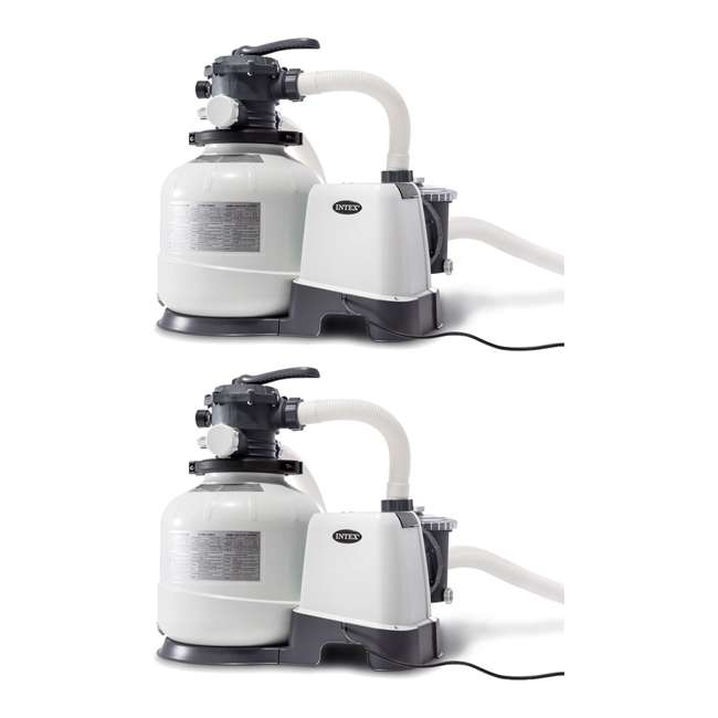 26647EG Intex 2800 GPH Above Ground Pool Sand Filter Pump with Automatic Timer (2 Pack)