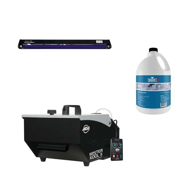 """MISTER-KOOL-II + BLACK-48BLB + FJU ADJ Mister Kool II Fog Machine with 48"""" Black Light & 1 Gallon Fog Juice Fluid"""