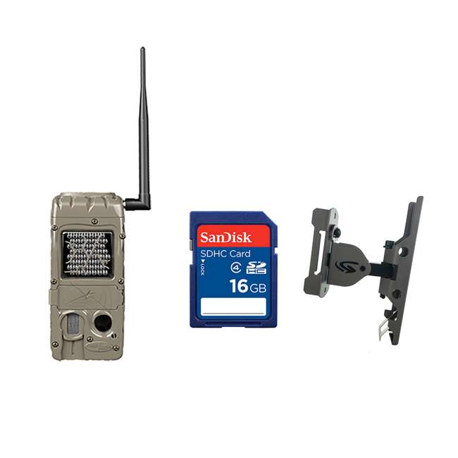 G-5062 + SD4-16GB-SAN + 3488-GENIUS-PTL-MOUNT Cuddeback 20 Megapixel Trail Camera + 16GB SD Memory Card + Game Camera Mount