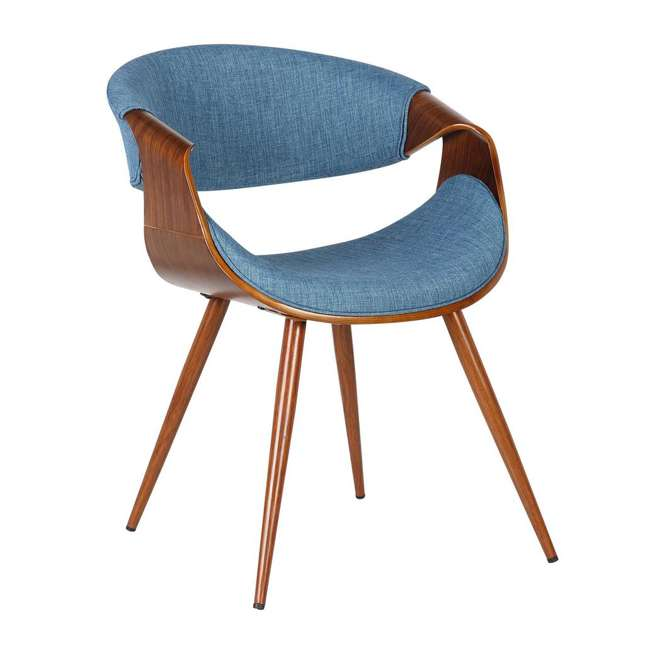 3 x LCBUCHWABL Armen Living Blue Fabric and Walnut Wood Finish Mid Century Dining Side Chair (3 Pack) 1