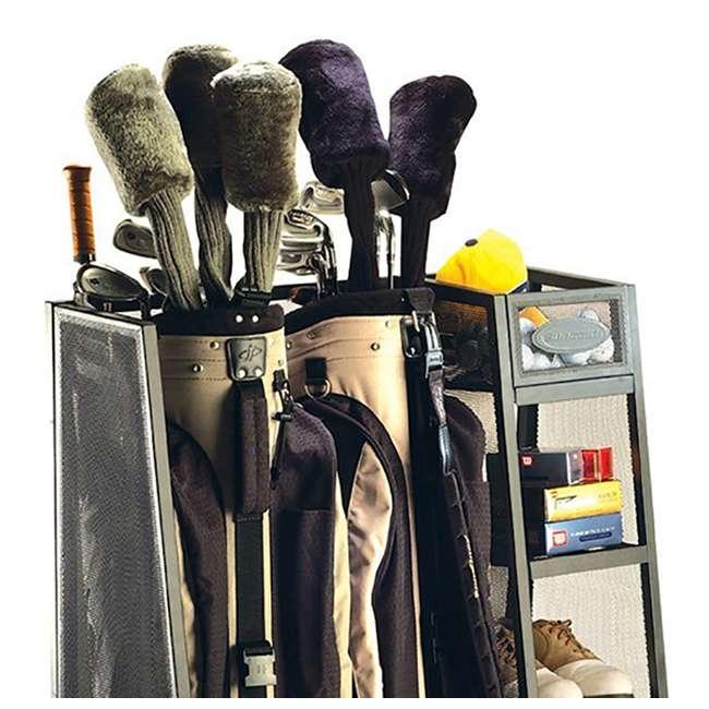 GO3216 Suncast Metal Golf Bag Organizer w/ 3 Shelves & Deep Bin (Open Box) (2 Pack) 2