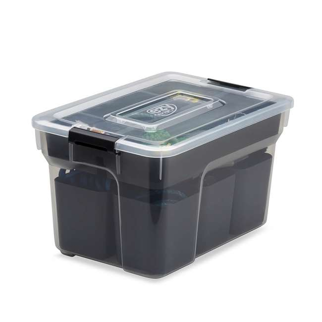 FBA32238 Ezy Storage 5 Liter Sort It Storage Container with 2 Removable Trays, Clear/Gray 1