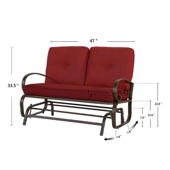 CM0002-U-B Cloud Mountain Furniture Porch Patio Loveseat Glider Sofa Couch Swing (Used) 4
