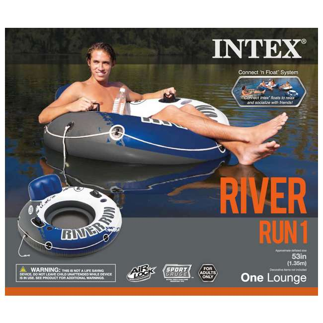 3 x 58825EP-U-A Intex River Run 1 Person Inflatable Floating Tube Raft for Lake/Pool  (Open Box) 4