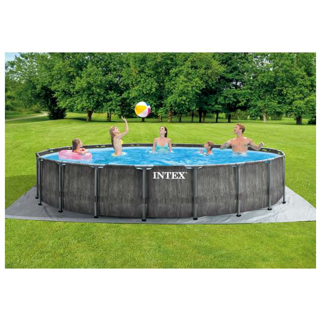 26743EH Intex 18ft x 48in Greywood Prism Steel Frame Pool Set with Cover, Ladder, & Pump 4