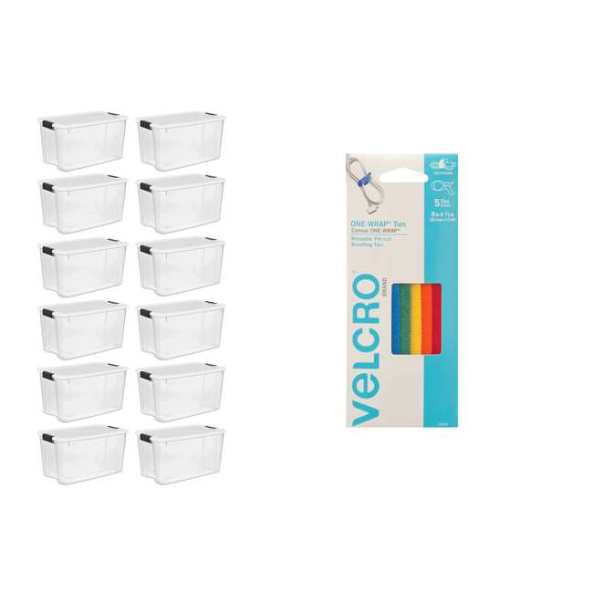 90438 + 12 x 19889804  Sterilite 70 Qt Storage Box (12 Pack) Bundled with VELCRO® Brand Reusable Cable Ties