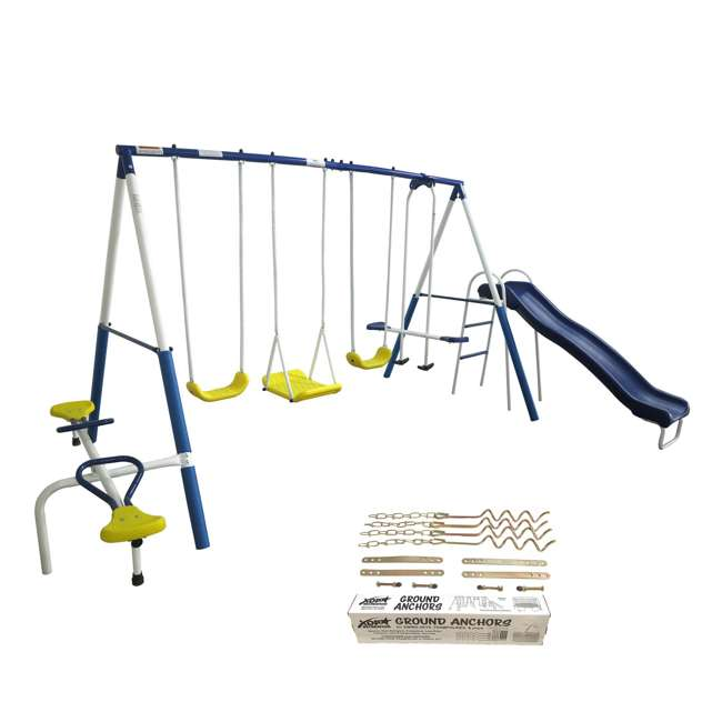 XDP-74320 + XDP-70113 XDP Recreation Playground Galore Outdoor Backyard Kids Swing Set and Anchor Kit 1