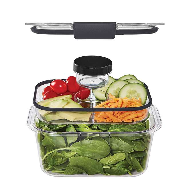 2027441 Rubbermaid Brilliance 9 Piece Food Storage Container Combo Kit Set, Clear/Gray 2