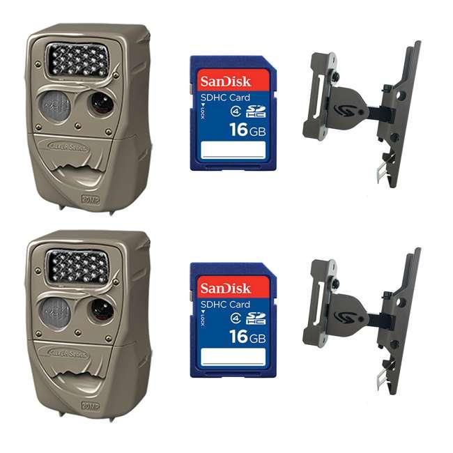 2xH-1453 + 2xSD4-16GB-SAN +2x3488-GENIUS-PTL-MOUNT Cuddeback 20MP Trail Camera (2 pk) + 16GB SD Card (2 pk) + Camera Mount (2 pk)