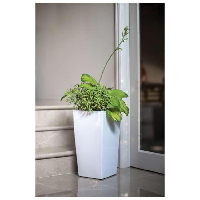 ALG-11404 Algreen Modena Self-Watering Planter, Glossy White 2
