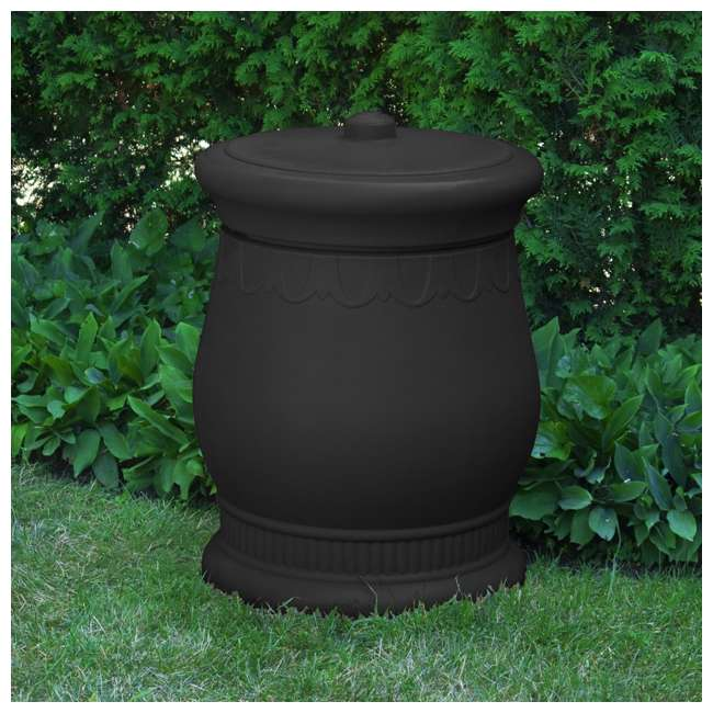 SV-URN-BLK Good Ideas Savannah Decorative 30 Gallon Storage and Waste Basket Urn, Black 1