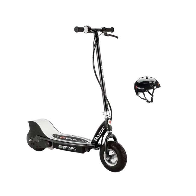 13116397 + 97778 Razor E325 Black Electric Scooter And Razor V17 Youth Helmet