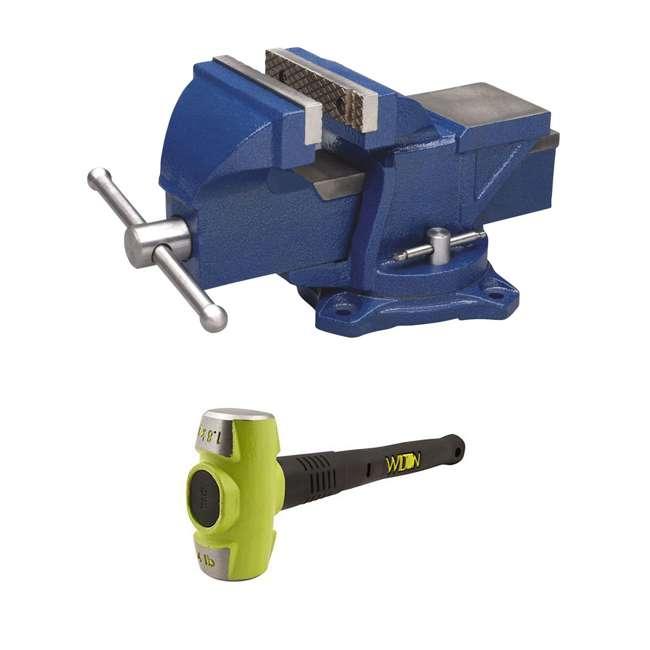WIL-11104 + WIL-20416 Wilton 4 Inch Anvil Work Bench Vise + 4 Pound HRS Steel 16 Inch Sledge Hammer