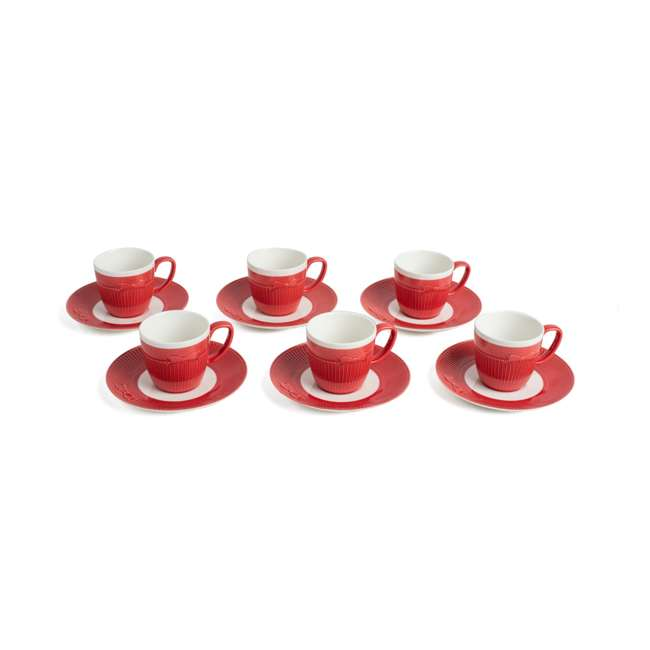 CC623 Cravat Cups & Saucers, Red & White (Set of 6)