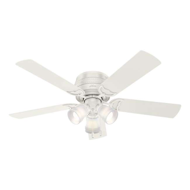 53385 Hunter Fan Company Prim Low Profile 52-Inch Ceiling Fan w/ 3 LED Lights, White