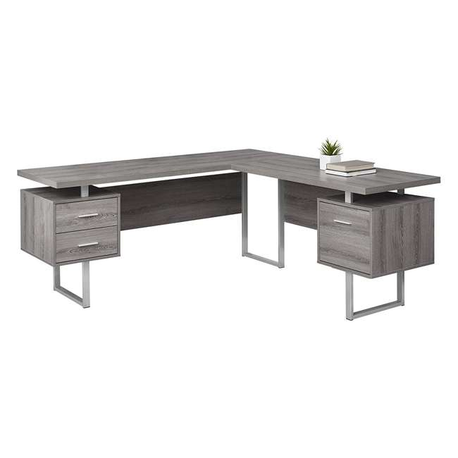 VM-7304 Monarch Specialties 70 Inch Contemporary Furniture Computer Desk, Dark Taupe