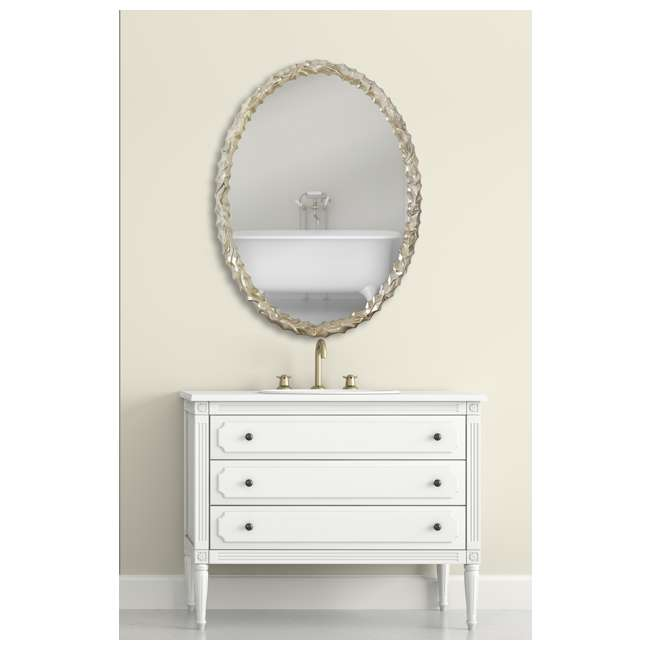 2031-P Majestic Mirror Contemporary Oval Shaped Silver Framed Glass Wall Mirror 5