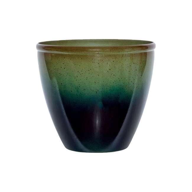 "1606GP36 Suncast Seneca 16"" Ombre Resin Plant Flower Planter Pot, Green/Blue (2 Pack) 1"