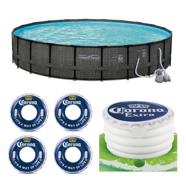 "P4A024521167 + 4 x K10423D00167 + KF0226B00167 Summer Waves 24' x 52"" Pool Set + Corona Pool Floats (4 Pack) + Floating Cooler"