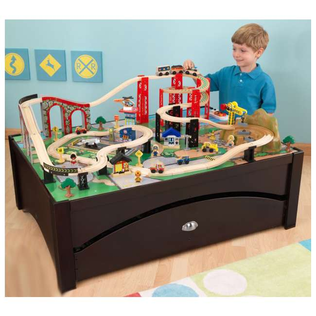 17952 KidKraft New Metro Wooden Train Table & Set with Trundle