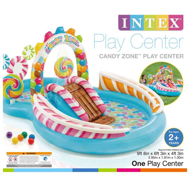 57149EP-U-A Intex Kids Candy Zone Play Center Splash Pool w/ Waterslide(Open Box) (2 Pack) 5