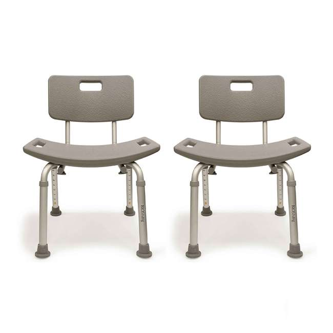 59001-BENCH Bios Living 250 Pound Non Slip Bath Bench with Back (2 Pack)