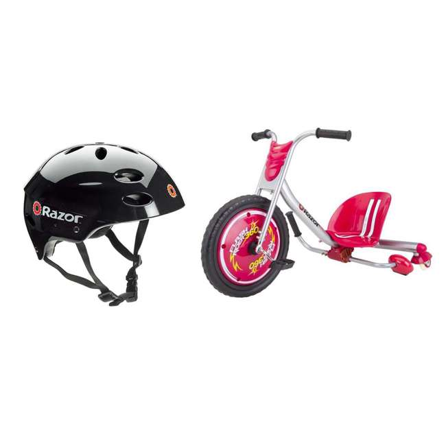 97778 + 20036559 Razor V17 Youth Skateboard/Scooter Sport Helmet & Drifting Ride-On Tricycle, Red