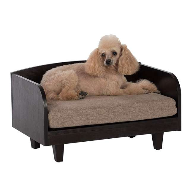 61006 Studio Designs Home Paws and Purrs Raised 3-Inch Padded Mattress Pet Bed, Brown 4