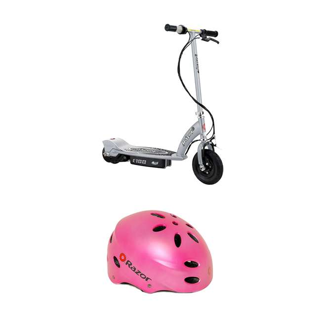 13181112 + 97783 Razor E100 Kids Motorized Ride On Scooter and V17 Youth Sport Helmet, Satin Pink