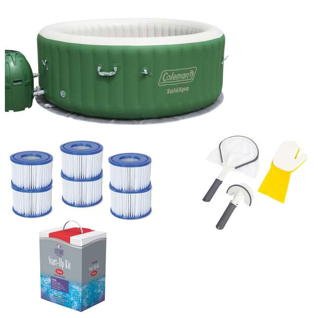 90363E-BW + 3 x 90352E-BW + 58421-BW + 45520A Coleman SaluSpa 6 Person Hot Tub + Filter 3 Pack, 2 Cleaning Kits